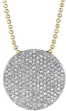 Pavé Diamond & 14K Yellow Gold Infinity Disc Pendant Necklace - Gold