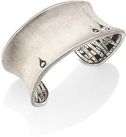Bamboo Large Brushed Sterling Silver Curved Cufff