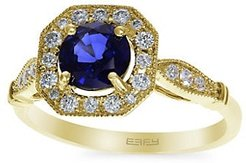 14K Yellow Gold, Natural Diffused Ceylon Sapphire & Diamond Solitaire Ring