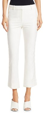 Eyelet Embroidered Cropped Flare Trousers