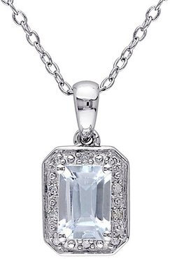 Sterling Silver, Blue Aquamarine & Diamond Pendant Necklace