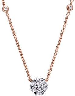 14K Rose Gold & Diamond Pendant Necklace
