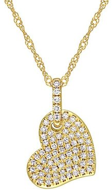 14K Yellow Gold & Diamond Pendant Necklace