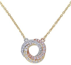 14K White, Yellow, Pink Gold & Diamond Pendant Necklace