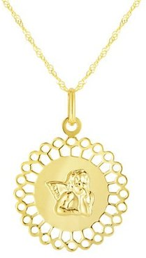 14K Yellow Gold Disc Angel Pendant Necklace