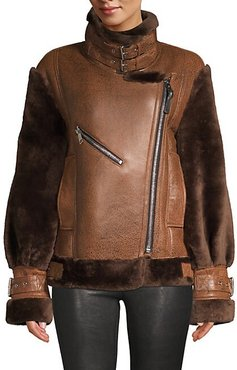 Gramercy Sheep Fur-Trim Leather Jacket