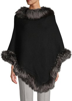 Silver Fox Fur-Trim Wool-Blend Poncho