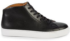 Perforated Leather Mid-Top Sneakers