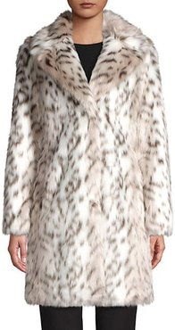Leopard Printed Faux-Fur Coat