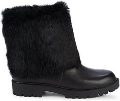 Rabbit Fur & Leather Ankle Boots