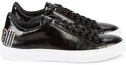 Low-Top High-Shine Leather Sneakers
