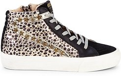 Leopard Mixed-Media High-Top Sneakers