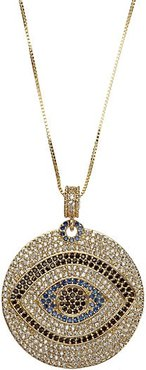 Luxe 14K Goldplated Sterling Silver & Crystal Evil Eye Pendant Necklace