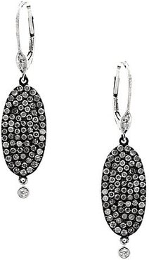 14K White Gold, Black Rhodium-Plated Sterling Silver & Diamond Disc Oblong Drop Earrings