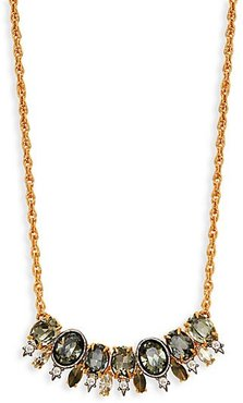 Goldplated Pyrite & Crystal Bar Pendant Necklace