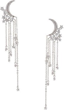 Rhodium-Plated & Crystal Double-Crescent Dangle Drop Earrings