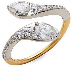 Rhodium, Goldplated Sterling Silver & Crystal Ring