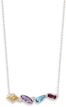 Sterling Silver & Multi-Stone Bar Pendant Necklace