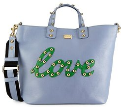 Studded Love Patch Leather Tote