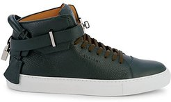 Pebbled Leather High-Top Sneakers