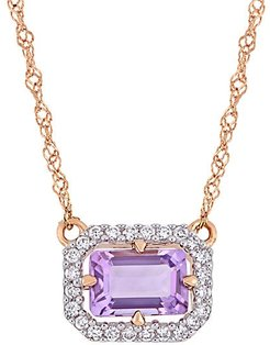 14K Rose Gold, Amethyst & Diamond Pendant Necklace