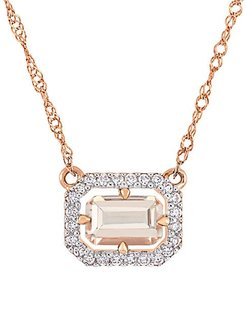 14K Pink Gold Morganite & Diamond Halo Pendant Necklace