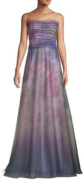 Strapless Ombre Flare Gown