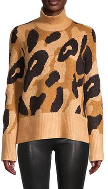 Animal-Jacquard Turtleneck Sweater