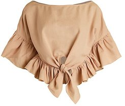 Ruffled Poncho Crop Top