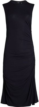 Ruched Cap-Sleeve Dress