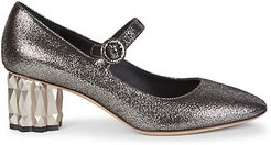 Faceted-Heel Metallic Leather Mary Janes