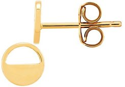 14K Yellow Gold Polished Flat Circle Stud Earrings