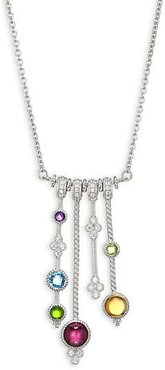 Sterling Silver, Cubic Zirconia & Gemstone Pendant Necklace