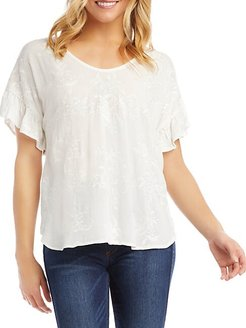 Embroidered Floral Ruffle-Sleeve Top