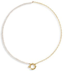 14K Yellow Goldplated & 2MM Fresh Water Pearl Toggle Chain Necklace