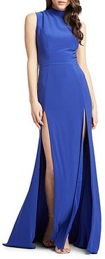 Double Slit High-Neck Gown