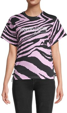 Zebra-Print Stretch-Cotton Tee