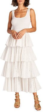 Smocked Cotton Eyelet Tiered Dress