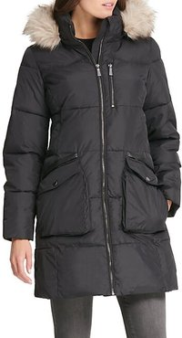 Quilted Faux Fur-Trim Hooded Coat