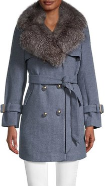 Double-Breasted Silver Fox Fur Trim Hood Trench Coat