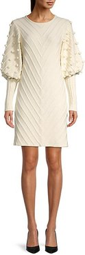 Puff-Sleeve Knitted Dress