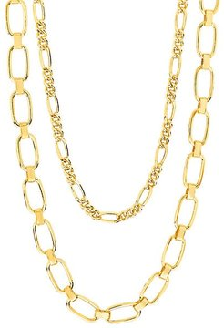 Goldplated Figaro & Square Link Layered Chain Necklace