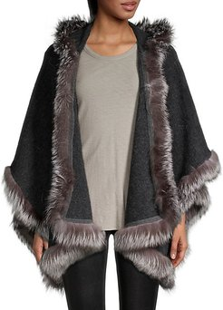 Silver Fox Fur-Trim Wool-Blend Kamala Hooded Cape