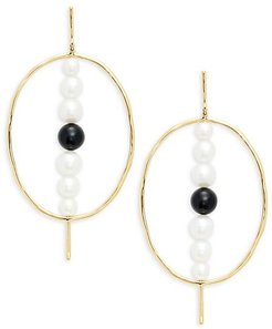 18K Yellow Gold, Onyx & 5-8MM White Round Cultured Freshwater Pearl Drop Earrings