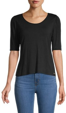 Scoopneck Elbow-Sleeve Top