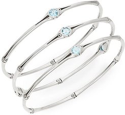 Bamboo Swiss Blue Topaz & Sterling Silver Bangle Set