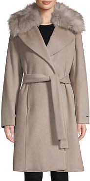 Fiona Faux Fur-Trim Wrap Coat