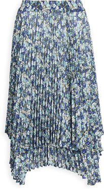 Double Layered Floral Pleated Skirt