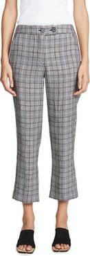 Straight Crop Plaid Trousers