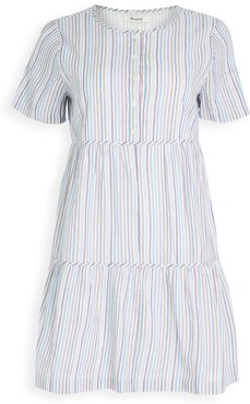 Striped Crew Neck Button Front Tiered Mini Dress